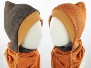Kinder-Wollmütze zum Wenden braun mit Punkten auf orange
