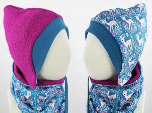 Kinder-Wollmütze zum Wenden pink mit Rehen auf blau KU 41-43