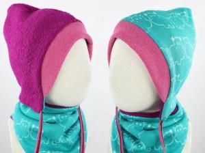 Kinder-Wollmütze zum Wenden pink mit Nilpferden türkis