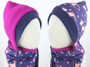 Kinder-Wollmütze zum Wenden pink mit lila Rehen