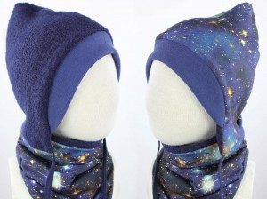 Kinder-Wollmütze zum Wenden marineblau BLUE GALAXY