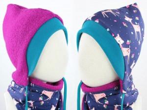 Kinder-Wollmütze zum Wenden pink mit lila Rehen (petrol Bündchen)