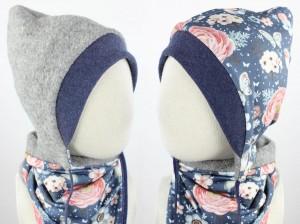 Kinder-Wollmütze zum Wenden hellgrau mit Rosenvögeln auf blau