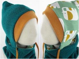 Kinder-Wollmütze zum Wenden smaragdgrün mit Elefanten auf mintgrün