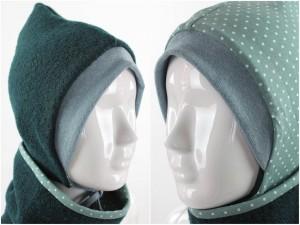 Kinder-Wollmütze zum Wenden dunkelgrün mit Punkten auf grün