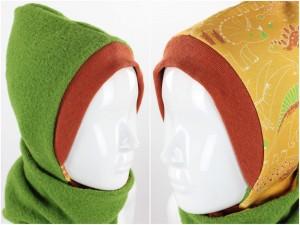 Kinder-Wollmütze zum Wenden grün mit Dinos auf gelb