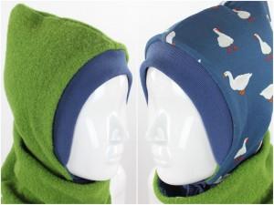 Kinder-Wollmütze zum Wenden grün mit Gänsen auf blau