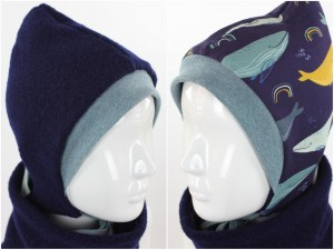 Kinder-Wollmütze zum Wenden marineblau mit Walen
