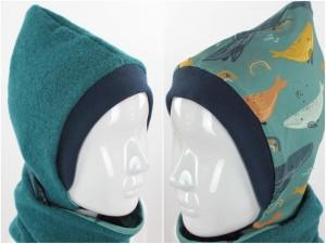 Kinder-Wollmütze zum Wenden smaradgrün mit Walen