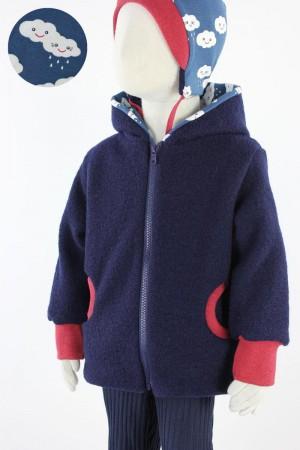 Kinder-Wolljacke marineblau mit Regenwolken