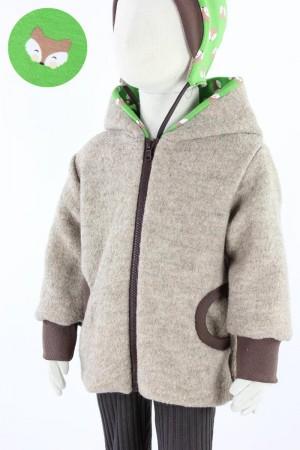 Kinder-Wolljacke beige mit Füchsen auf grün