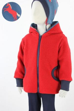 Kinder-Wolljacke rot mit Pferden auf blau