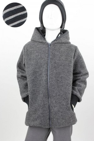 Kinder-Wolljacke anthrazit mit schwarz-grauen Streifen 98/104