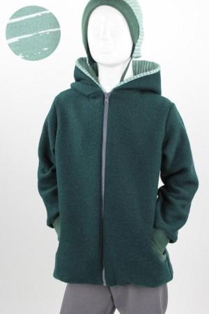 Kinder-Wolljacke dunkelgrün mit Streifen