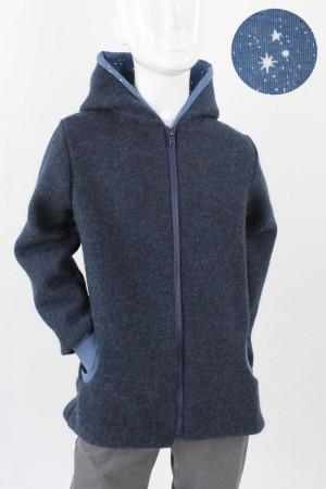 Kinder-Wolljacke marineblau meliert mit Sternen BIO-STOFFE