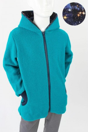 Kinder-Wolljacke türkis BLUE GALAXY