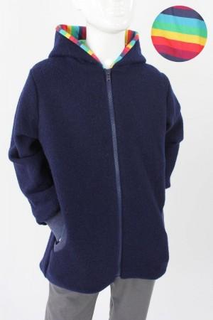 Kinder-Wolljacke marineblau mit Regenbogenstreifen 98/104
