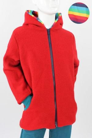 Kinder-Wolljacke rot mit Regenbogenstreifen 98/104