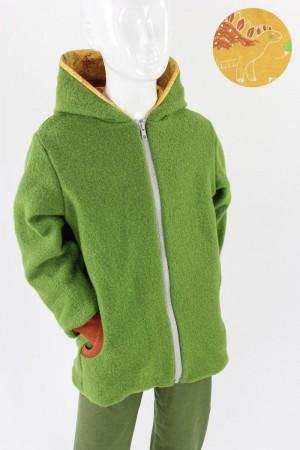 Kinder-Wolljacke grün mit Dinos