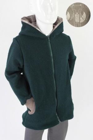 Kinder-Wolljacke dunkelgrün mit Füchsen