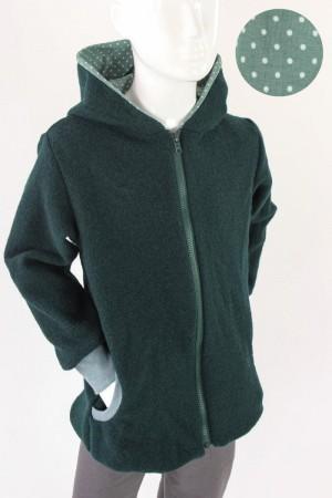 Kinder-Wolljacke dunkelgrün mit Punkten auf grün