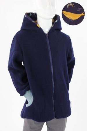Kinder-Wolljacke marineblau mit Walen