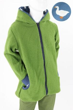 Kinder-Wolljacke grün mit Gänsen auf blau
