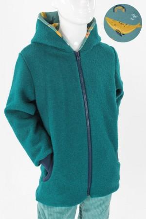 Kinder-Wolljacke smaragdgrün mit Walen