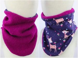 Wollschlupfschal zum Wenden pink mit Rehen auf lila