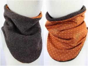 Wollschlupfschal zum Wenden braun mit Punkten auf orange