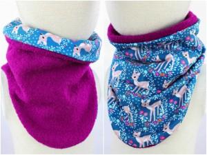 Wollschlupfschal zum Wenden pink mit blauen Rehen