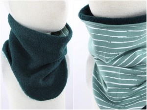 Wollschlupfschal zum Wenden dunkelgrün und gestreift bis KU 45