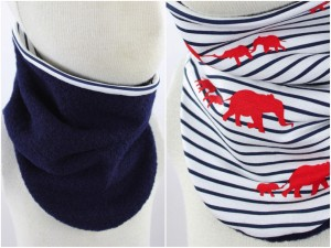 Wollschlupfschal zum Wenden marineblau mit Elefanten und Streifen