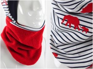 Wollschlupfschal zum Wenden rot mit Elefanten und Streifen