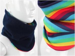 Wollschlupfschal zum Wenden marineblau mit Regenbogenstreifen