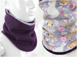 Wollschlupfschal zum Wenden lila mit Wintertieren
