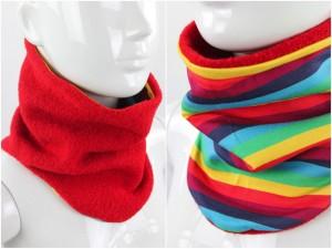 Wollschlupfschal zum Wenden rot mit Regenbogenstreifen