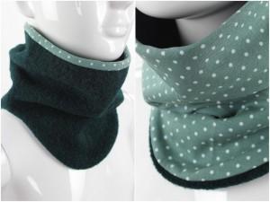 Wollschlupfschal zum Wenden dunkelgrün mit Punkten auf grün