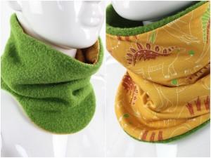 Wollschlupfschal zum Wenden grün mit Dinos auf gelb