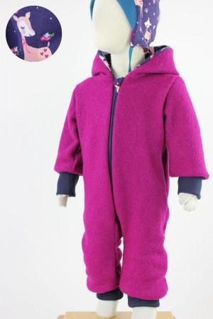 Kinder-Wollanzug pink mit Rehen und Blumen 122/128