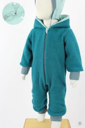 Kinder-Wollanzug smaragd mit Wintervögeln