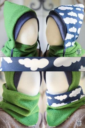 Wollmütze & Wollschlupfschal im Set, grün mit Wolken