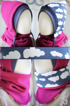 Wollmütze & Wollschlupfschal im Set, pink mit Wolken