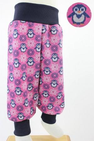 Kinderhose aus Jacqard-Jersey mit Pinguinen pink