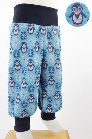 Kinderhose aus Jacqard-Jersey mit Pinguinen blau