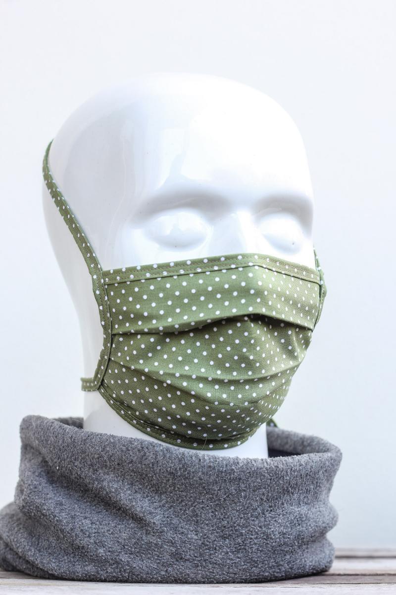 Mundbedeckung Mund-Nasen-Maske waschbar gepunktet grün