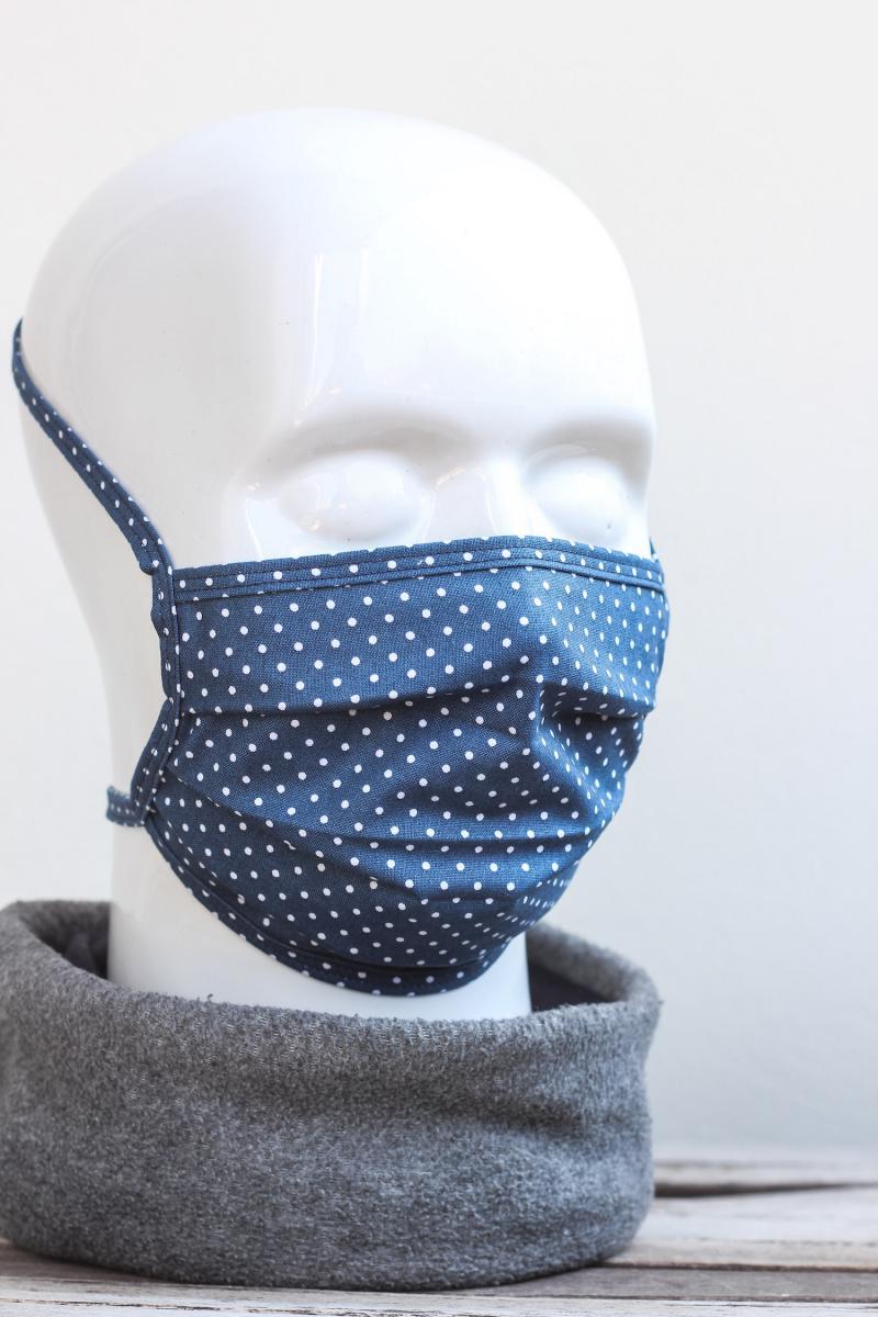 Mundbedeckung Mund-Nasen-Maske waschbar gepunktet taubenblau