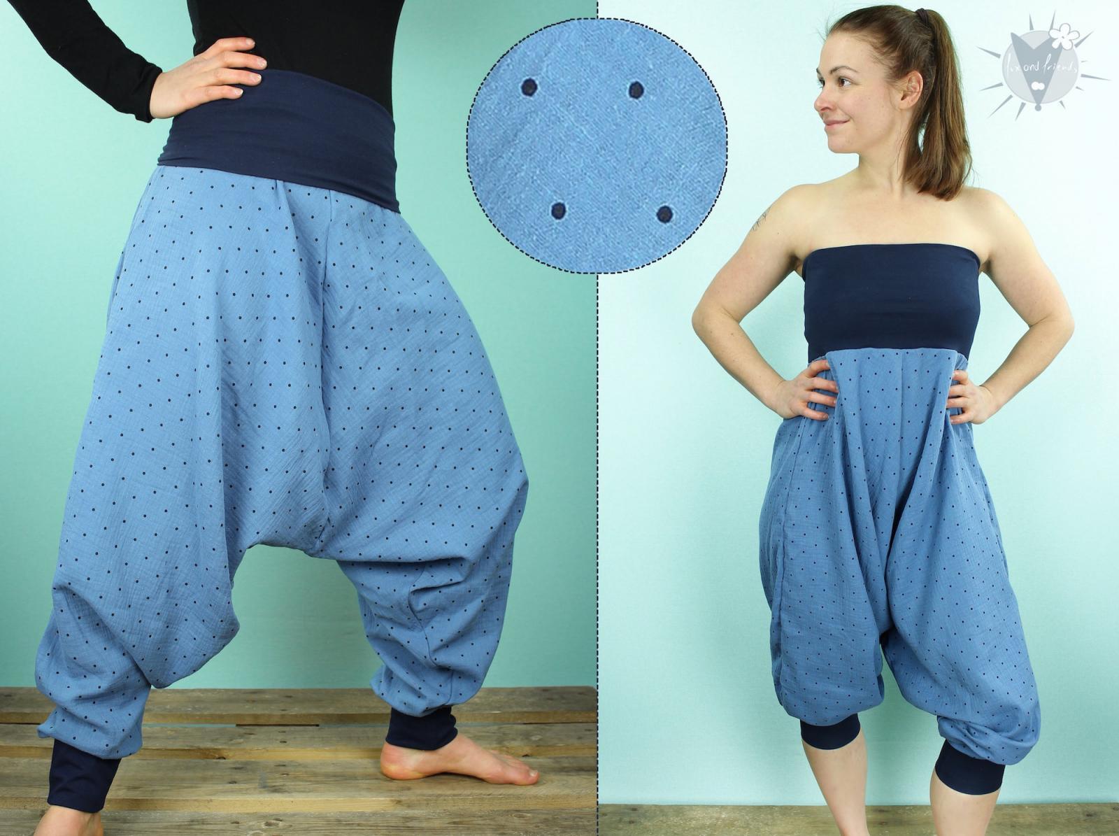 Haremshose/Jumpsuit Musselin, Punkte auf blau