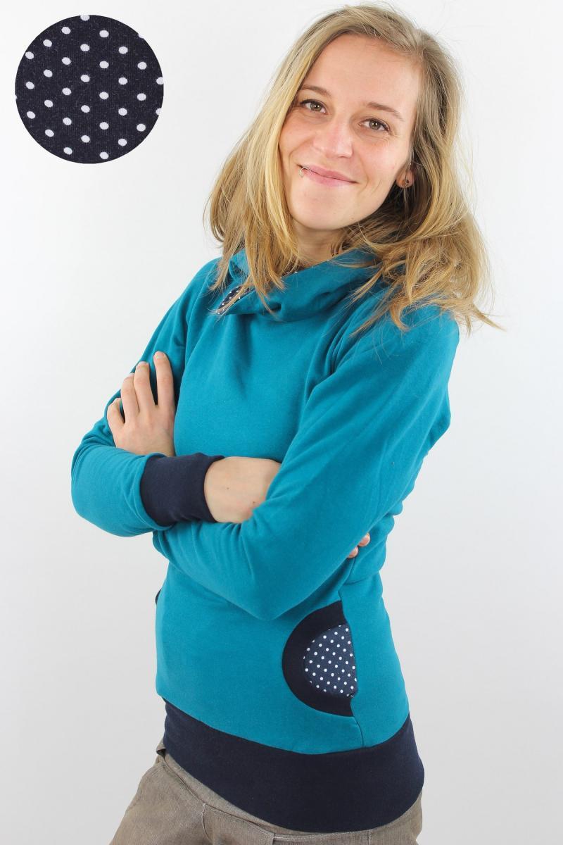 Damen-Kapuzenpulli petrol mit Punkten auf blau