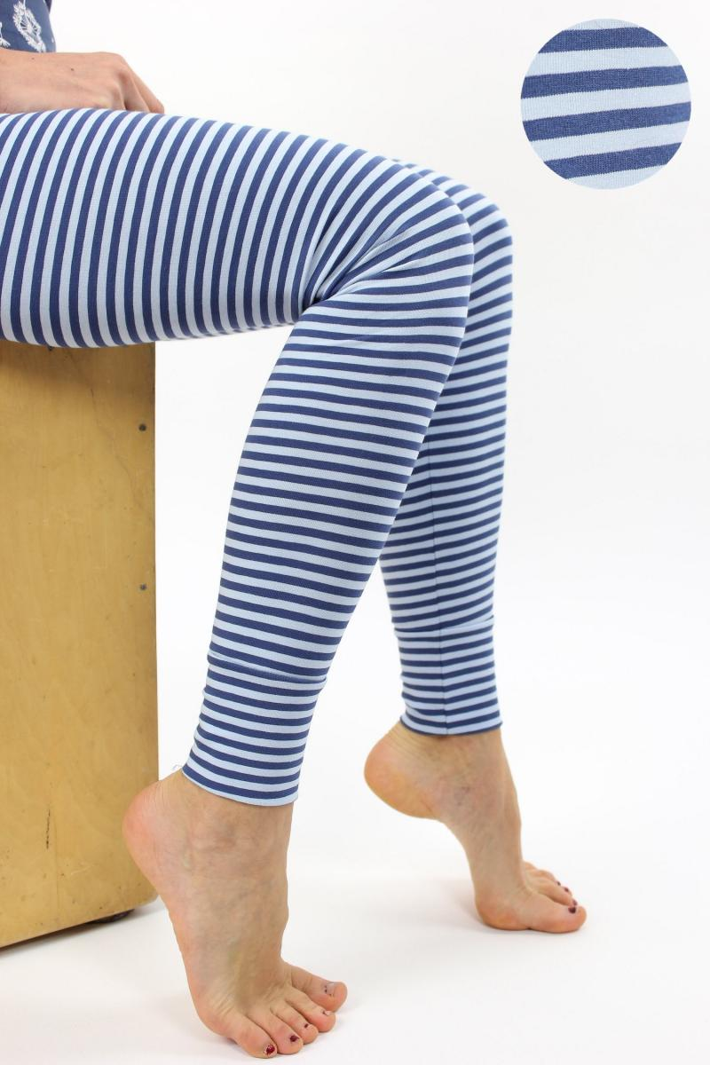 Leggings blau-hellblau gestreift
